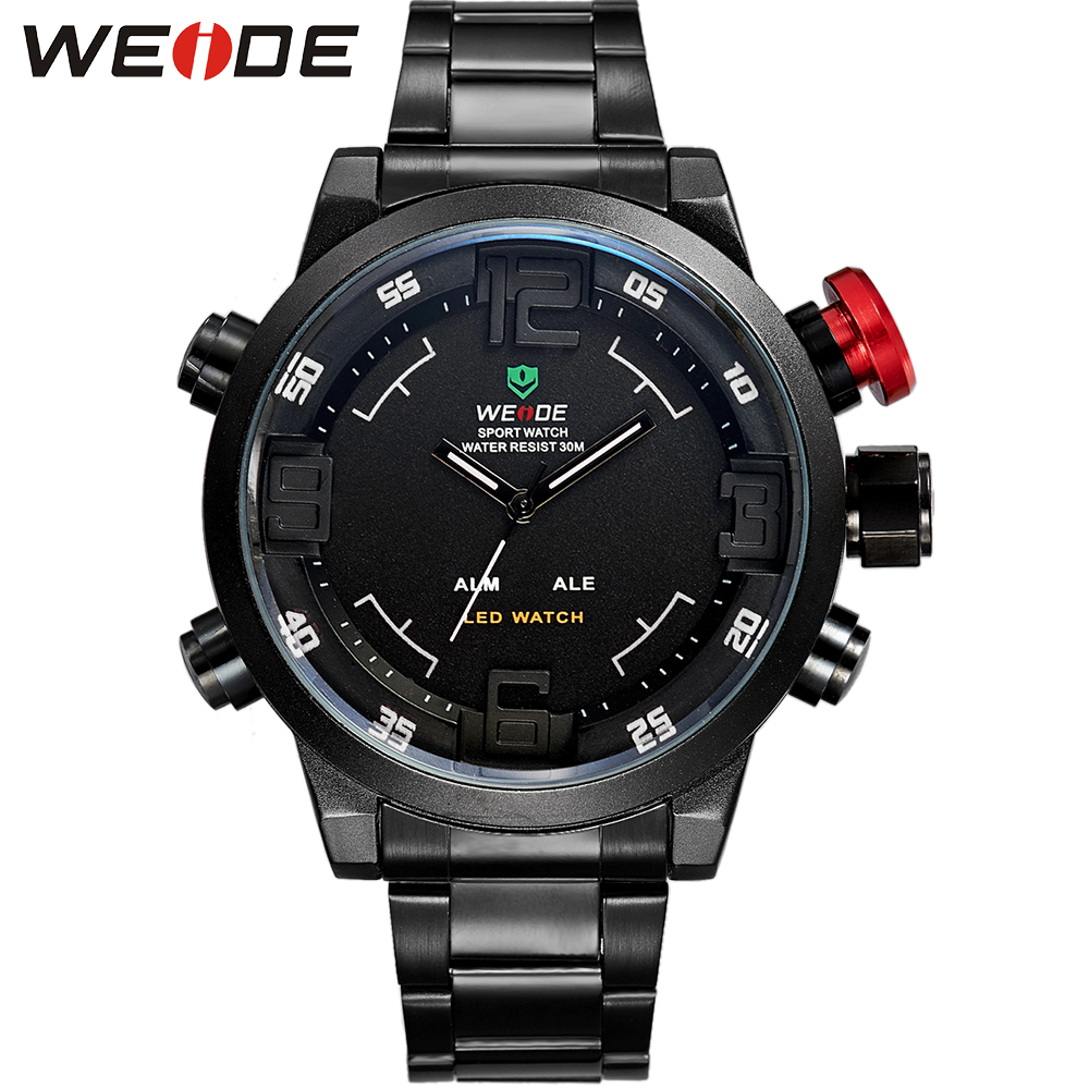 All Black Dial WEIDE Fashion Mens Relogio Masculino Analog Digital LED Multi-functional Men Full Steel Military Sports Watches<br><br>Aliexpress