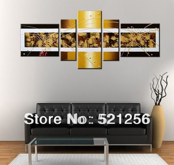 Free Shipping Handpainted Wall Art Home Decoration Group Triptych 5 Panels Paintings Modern Abstract Canvas Wall Picture BLA37