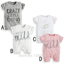 2016 New Fashion baby Romper unisex cotton Short sleeve newborn baby clothes carters jumpsuit Infant clothing set roupas de bebe(China (Mainland))