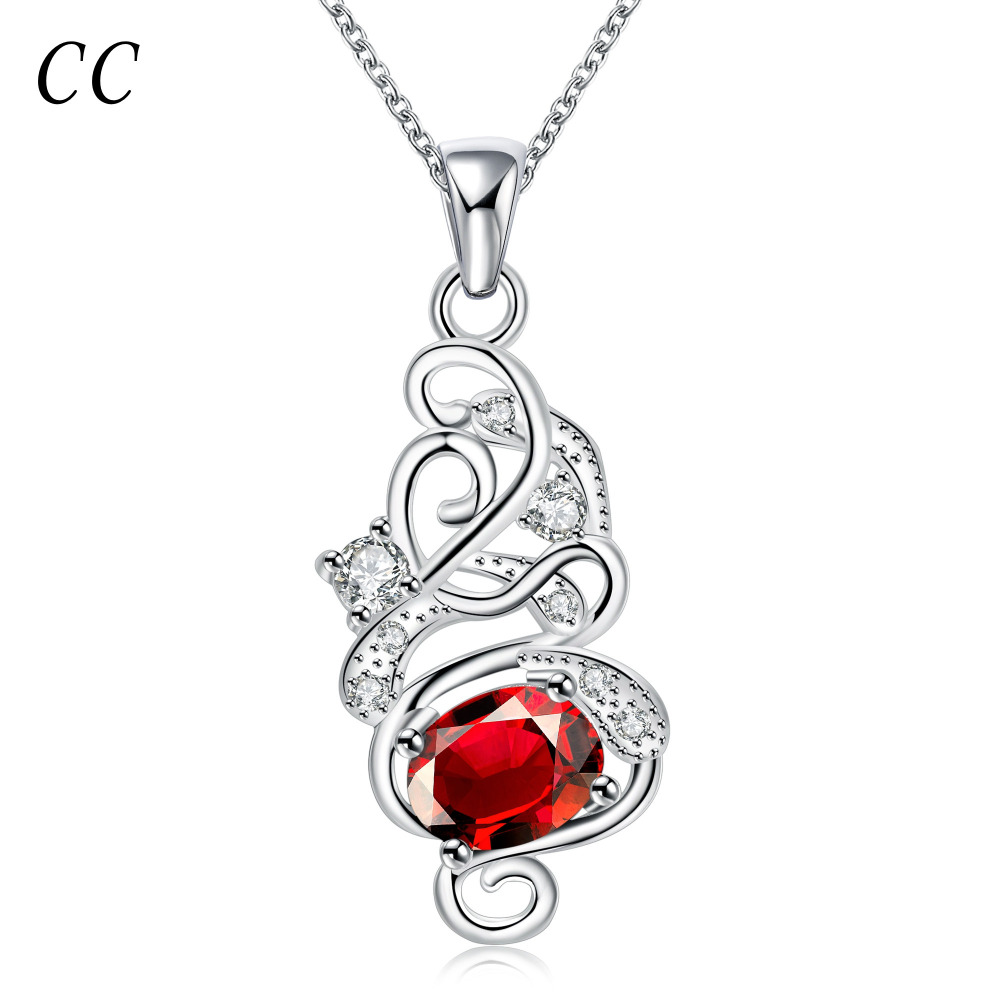 Silver plated red simulated diamond beautiful pendants necklaces for women luxury fashion jewelry ladies gifts CCNE0210(China (Mainland))