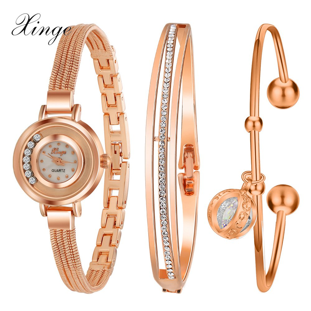 Xinge 2017 Top Brand Women Watches Luxury Gold Bracelet Rhinestone Water Resistant Wristwatches Set Women Fashion Classic Watch
