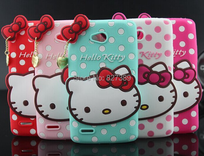 For LG L80 Dual D380 D385 Polka Dot Hello Kitty Soft Silicone Mobile Phone Bags Case Cover(China (Mainland))