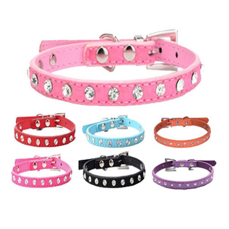 Pink Color 1 Row Rhinestone Dog Collar Diamante Pet Collars Pu Leather XXS XS S M(China (Mainland))