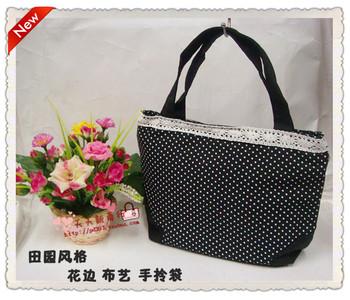 Lace decoration small plaid canvas bag gentlewomen bag handbag polka dot tote bag  MOQ>=10USD