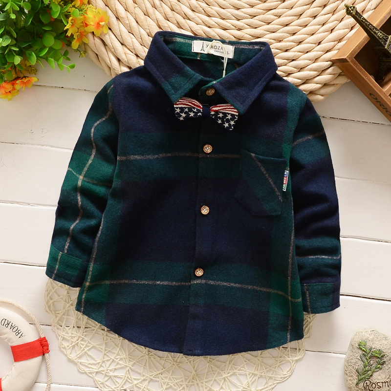 2016 Hot Selling Plaid Print Kid/Baby/Children Boy Bow Shirts Long Sleeves Shirt (5Pcs/lot) 2Color  {iso-16-2-23-A4}<br><br>Aliexpress