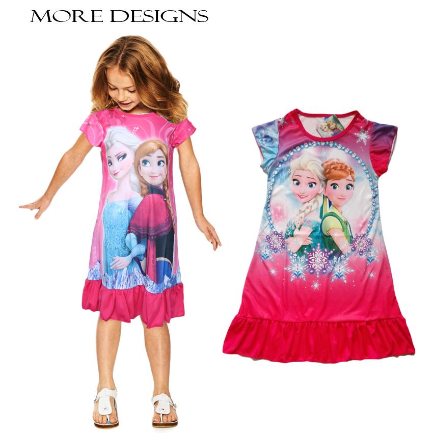 Гаджет  2015 Hot nightgown Girl sleepwear kids print Cartoon princess nightdress girls polyester pajamas kids clothes 01 None Детские товары