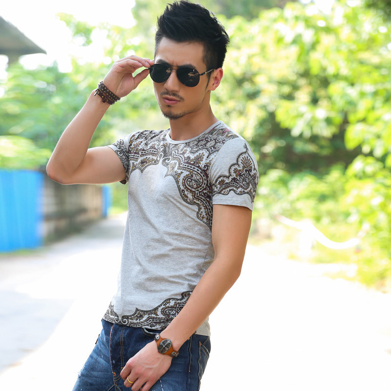 New 2015 Free Shipping new color totem men's Brand summer casual t shirts short sleeve dress luxury Men T-shirt factory outlets(China (Mainland))