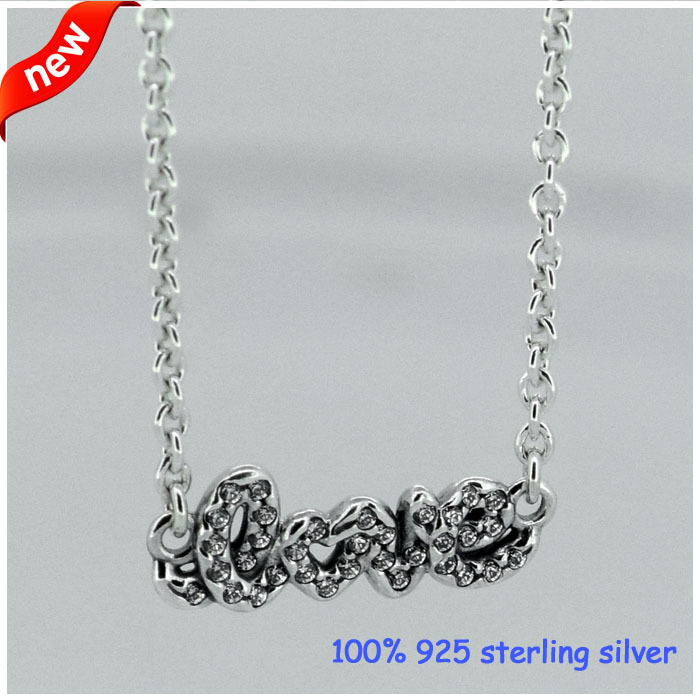 Fits Pandora Jewelry Signature of love Silver Necklace New Original 100% 925 Sterling Silver Necklace DIY Jewelry Wholesale(China (Mainland))