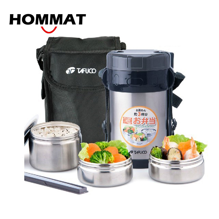 Stainless Steel Japanese Thermos Lunch Box Insulated Cooler Bag & Chopsticks Vacuum Food Container Lunchbox - HOMMAT HG Store store
