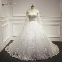 Off The Shoulder Long Sleeves Ball Gown Princess Real Wedding Dress 2016(China (Mainland))