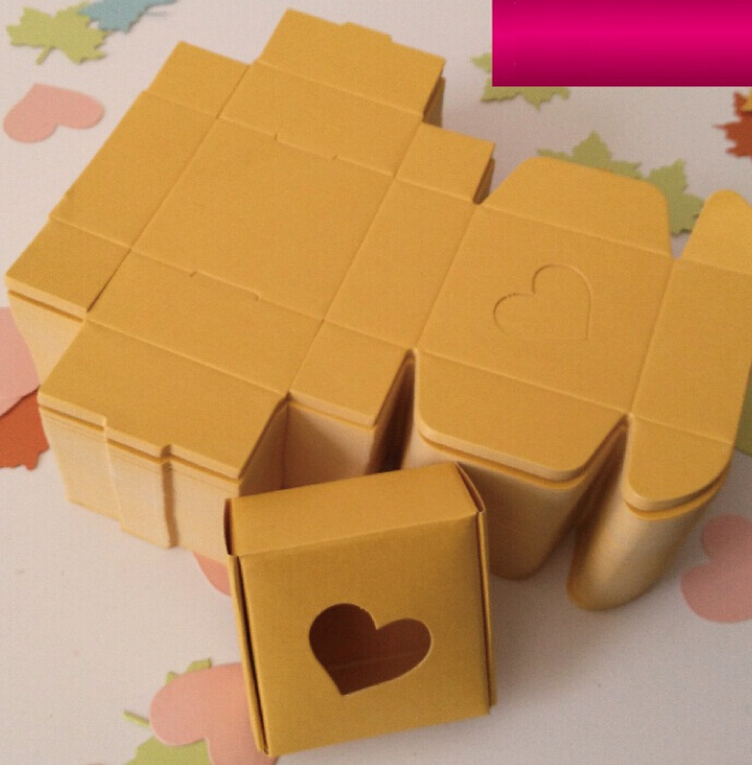 Size:5.5*5.5*2.5cm,small yellow paper boxes , craft packaging gift box with heart window(China (Mainland))
