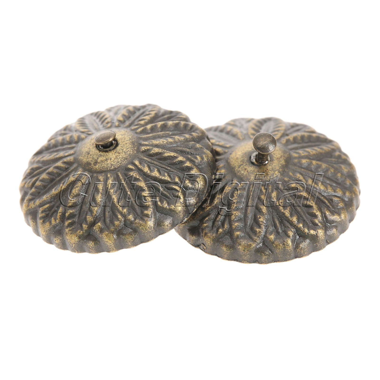 50Pcs 22mm Antique Bronze Carved Drum Nails Decorative Furniture Upholstery Nails Tack Studs Wooden Jewelry Box Bag Foot Tacks