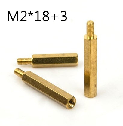 100pcs/lot m2 *18+3  m2*18 male to female  hex  Brass Standoff  Spacer<br><br>Aliexpress