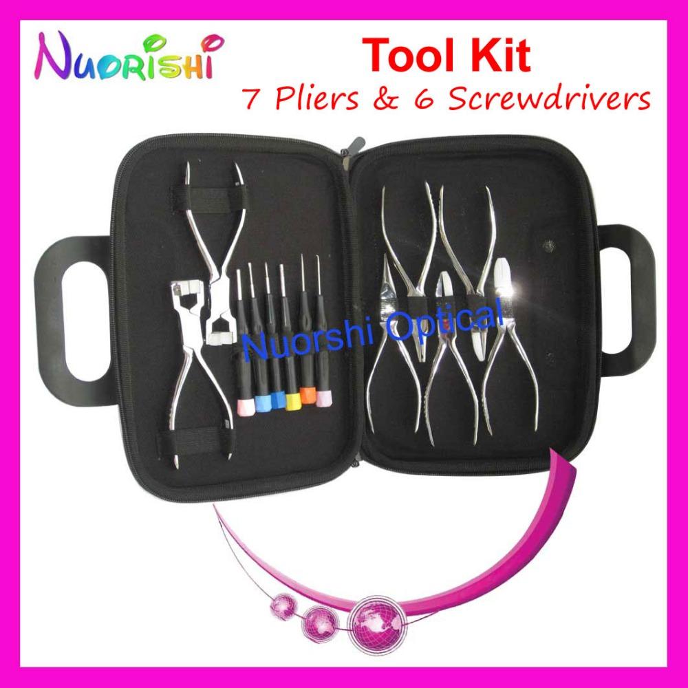 Professional Eyeglasses Eyewear Glasses Repairing Tool 7 Plier 6 Screwdriver Kit Set PL101 Free Shipping(China (Mainland))