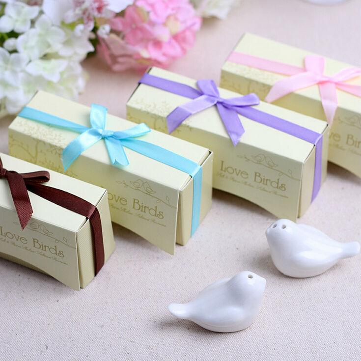 11 Colors 2017 New Free Shipping 20 SETS/Lot wedding gifts for guests love birds with ribbon bow wedding souvenirs(China (Mainland))