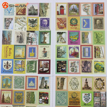 80 pcs/lot (1 bag) DIY Vintage Retro Stamp Stickers London Paris Prince Alice Sticky Scrapbooking Paper