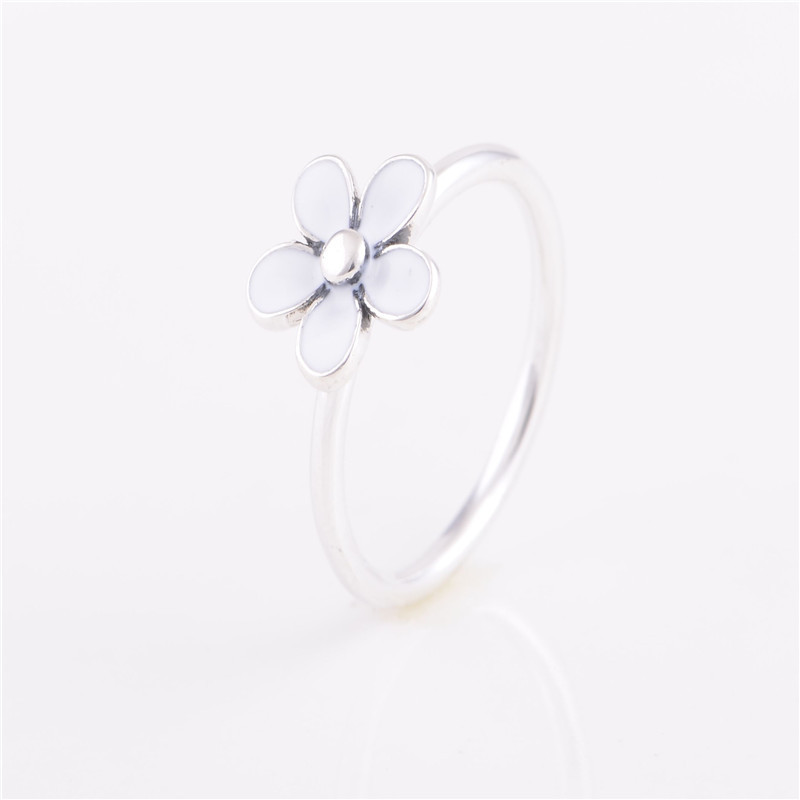Rings Compatible with European Style Jewelry Darling daisy, white enamel Size #6-9 New 100% 925 Sterling Silver Fashion Women(China (Mainland))
