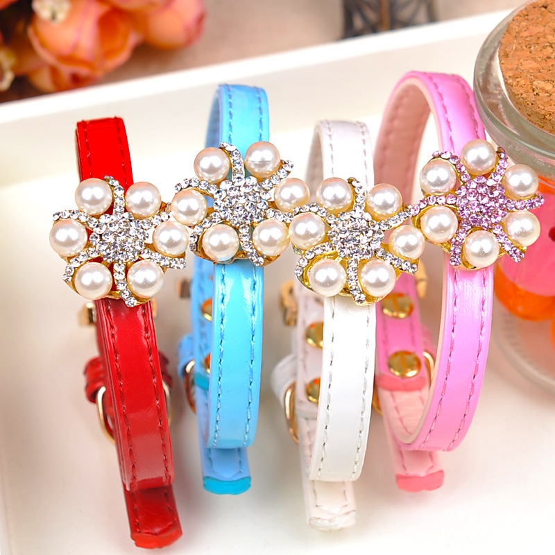 six claw diamond necklace diamond pearl collar high-end pet cats and dogs small dogs with Japanese quality(China (Mainland))