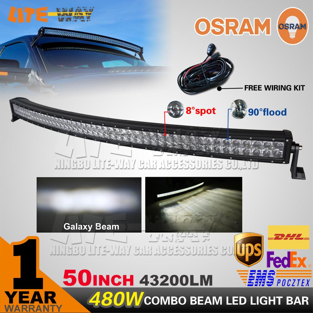 480W Curved LED Light Bar 50INCH OSRAM led Offroad Light 12V 24V LED Work Lamp For ATV SUV 4WD 4X4 Boating Hunting(China (Mainland))