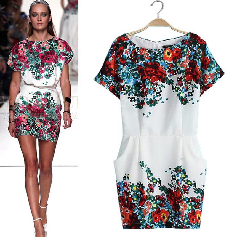 2014 Summer ladies fashion runway women dress vintage floral print slim chiffon dress European fashion Dresses free shipping(China (Mainland))
