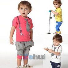 Baby Boy Kids Cotton Short Sleeve Tops Tie Print Cloths T Shirt + Short Pants Set Drop Shipping Free Shipping(China (Mainland))