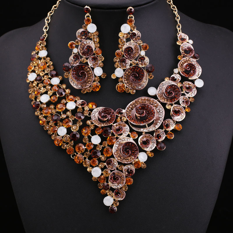Bridal Fashion Jewelry For Cheap fashion brand Party brown