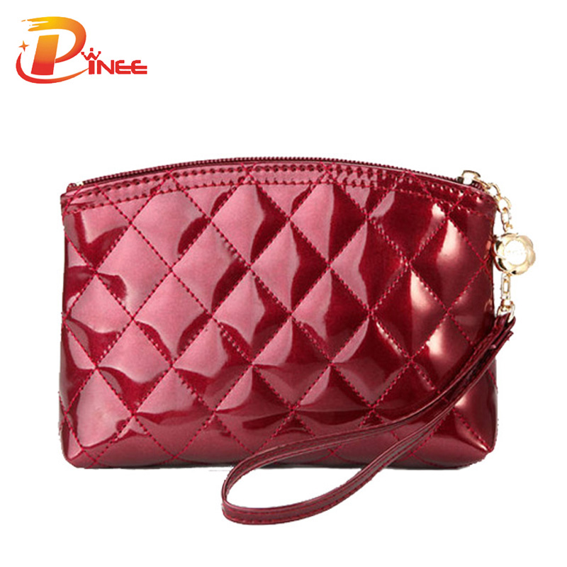 Hot Selling New 2016 fashion lady's makeup bag women's patent leather cosmetic bag plaid purse day clutch Free shipping(China (Mainland))