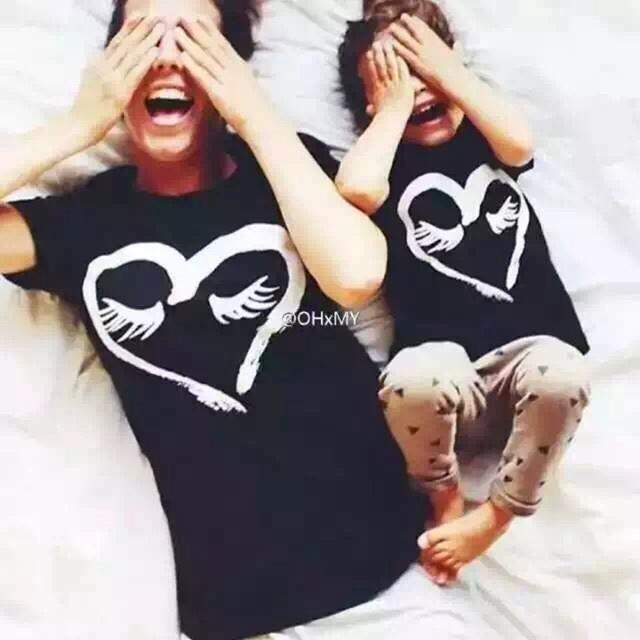 Kikikids мода семья наряд соответствующие футболка ж / любовь шаблон, Детские дети ...