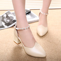 2016 spring new sexy high heeled shoes shallow mouth pointed comfortable fashion rhinestone buckle thick with