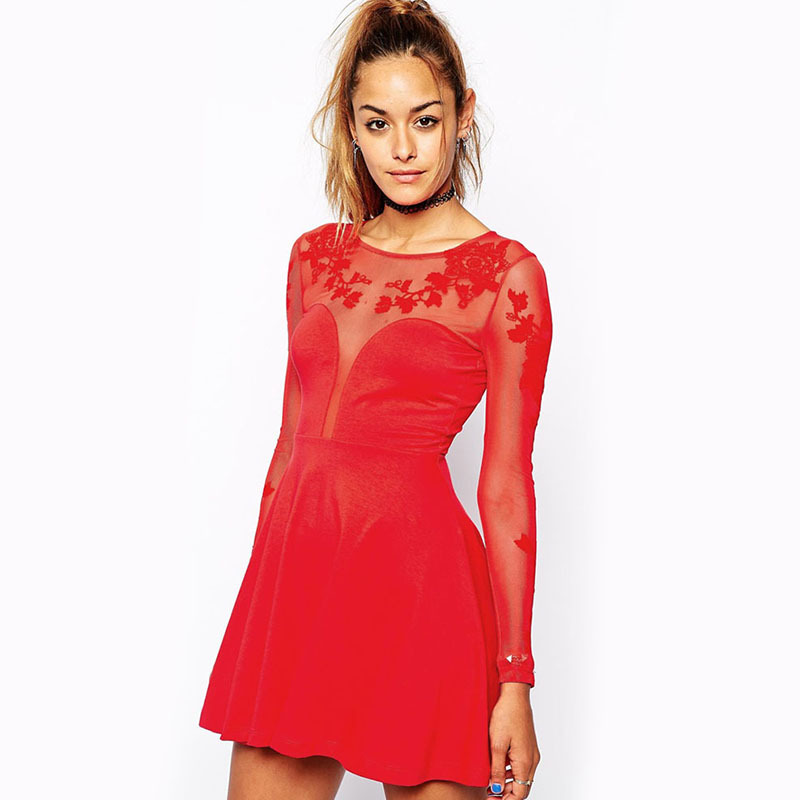 Fashionable Women Long Sleeve Lace Sheer Party Dress Fire Red O Neck Bodycon Dresses Hollow Vetement Femme(China (Mainland))