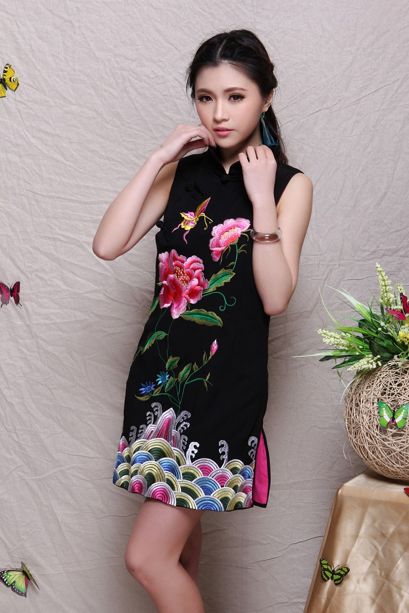 Spring 2015 womens embroidered vest thick bamboo cotton jacquard embroidery national wind sleeveless dressОдежда и ак�е��уары<br><br><br>Aliexpress
