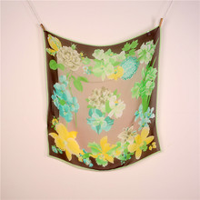2016 Lowest price 100% silk scarf, soft and light fabric, floral design, infinity square scarves, good decoration for any season(China (Mainland))