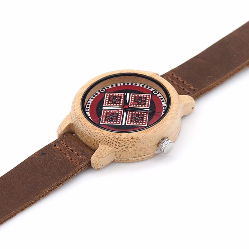 BOBOBIRD J20 Классный Дизайн Кварцевые Часы Красочные УФ Priting Ромбовидный Узор Циферблат Наручные Часы Женщины Подарок Relojes Mujer Примите OEM