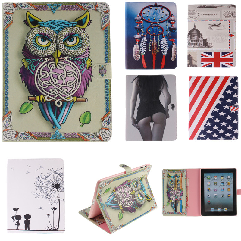 Fashion Tiger Owl Style Printed Stand Flip Pu Leather tablet case for iPad 2 3 4 With Card Slots for iPad 3 iPad 4 Fundas Coque(China (Mainland))