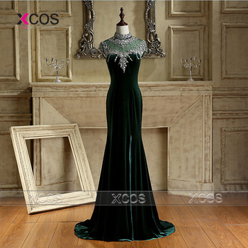 Dark Green Velvet Prom Dresses Crystal Mermaid Evening Gowns Side Slit Gala Jurken 2016 Special Occasion Dress Sweep Train SA195