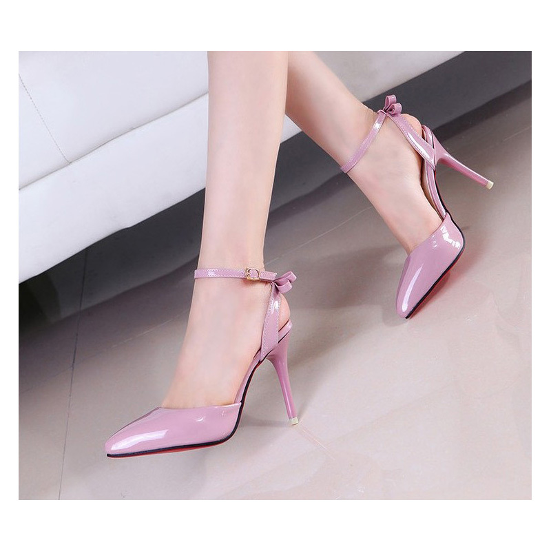 Women pumps high heels 2016 fashion pointed toe women shoes thin heels pumps Red bottom sole high heels buckle strap shoes(China (Mainland))