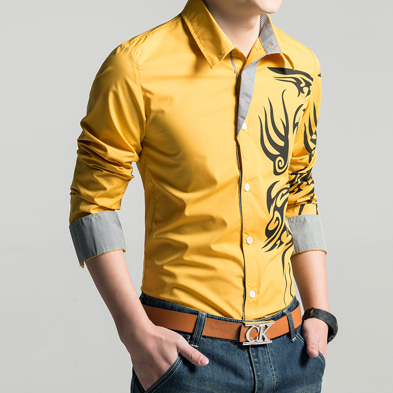 2014 fashion brand men 39 s long sleeve shirts dragon for Athletic fit dress shirts