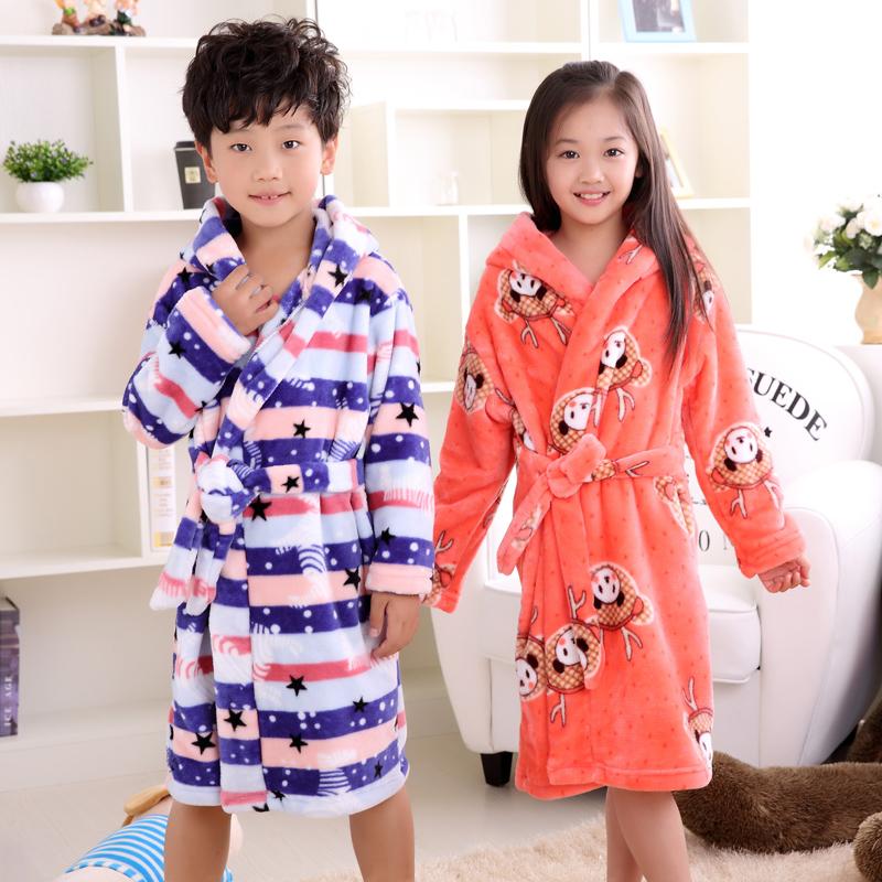 2017 new fashion children bathrobes 6-12years children bathrobes carol fleece winter robes