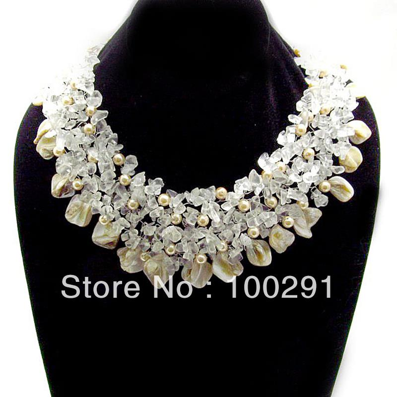 Free Shipping !!! Wedding jewelry Clear Quartz and Seashells Cluster Stone Toggle Necklace(China (Mainland))