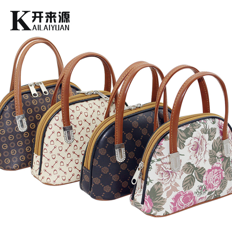 2015 Designer handbags high quality printing flower vintage PU leather shell bag white Mini tote bags women clutch bag mom purse(China (Mainland))
