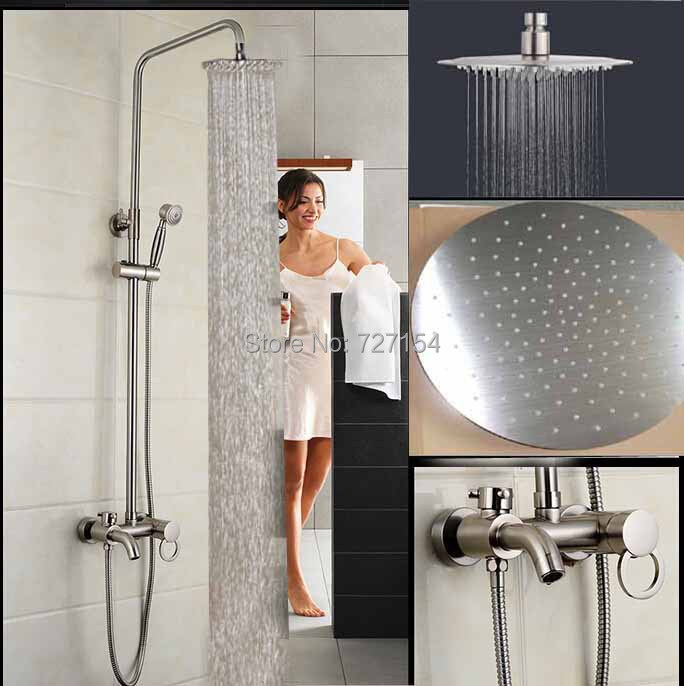 nickel brushed rainfall shower faucet 8