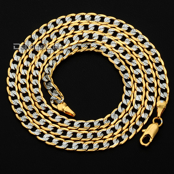 Customized Any Length 4MM Mens Womens Chain Yellow Gold Filled Necklace Hammered Curb Cuban Necklace Jewelry DLGN64(China (Mainland))