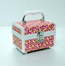 Charming Design Foldable PVC Leather Jewelry Box Aluminum Cosmtic Case Make-Up Beauty Case with Mirror Lock and Handle UT215H