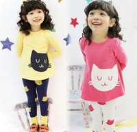 New fashion summer girls clothing sets hello kitty set kids clothes sets long sleeves shirt and legging girls clothes(China (Mainland))