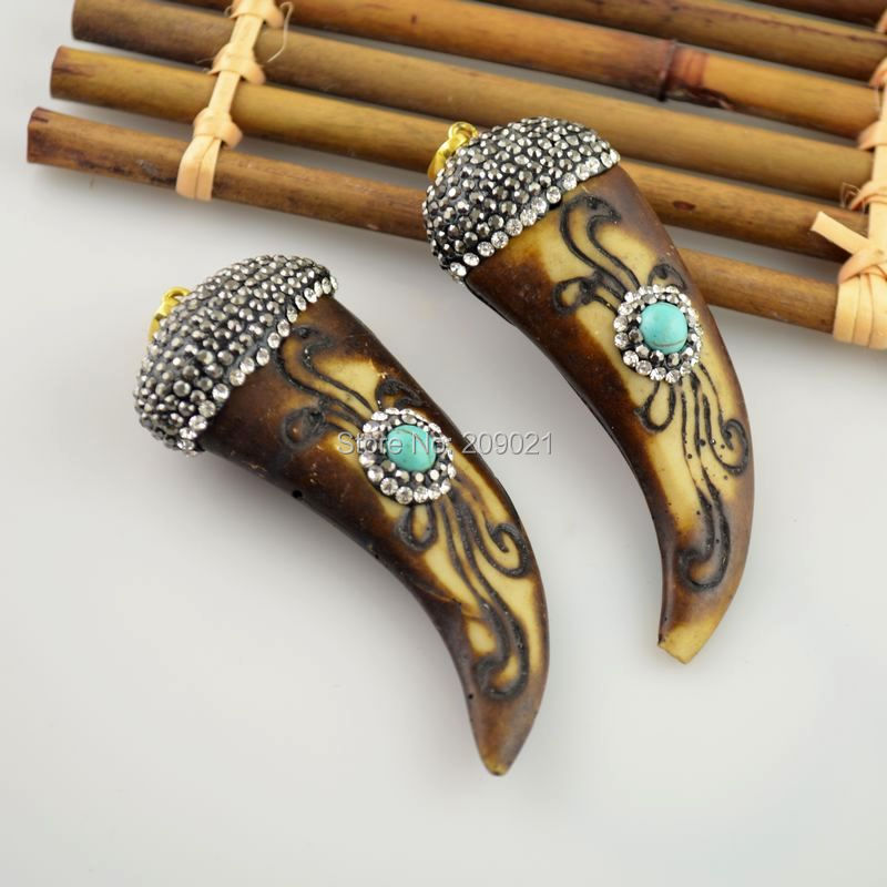 6Pcs OX Bone Horn Pendants Necklace Crystal Rhinestone with Small Turquoise Paved Druzy Fashion Jewelry(China (Mainland))