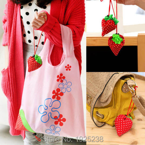1 PCS Foldable Shopping Bags Eco Storage Handbag Strawberry Beautiful Reusable Bag(China (Mainland))