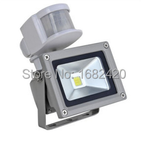 Free shipping 12V 10W Input PIR LED flood light for Solar system garage for security with Motion Sensor Time Lux adjust(China (Mainland))