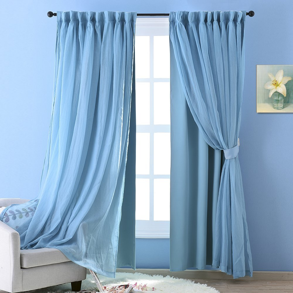Light teal curtains - Nicetown Voile Cloth Curtains Teal Crushed Voile Is Attached To Blackout Curtain With Versatile Styling Option For Living Room
