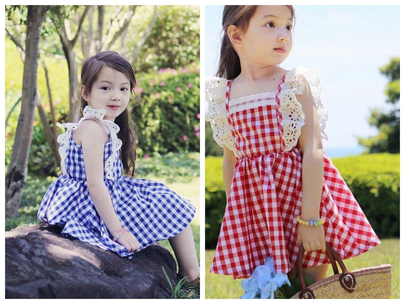 EMS DHL 2015 New Summer Style Baby Girls Child Kids Party Wedding Princess Pink Blue Casual Plaid Lace Tutu Dresses S0140245<br><br>Aliexpress