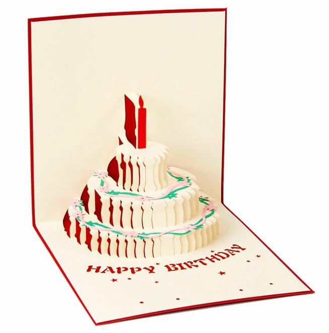 3D Pop Up Greeting Card DIY Happy Birthday Easter Valentines Day Cake candle invitation gift cards party festive supplies(China (Mainland))